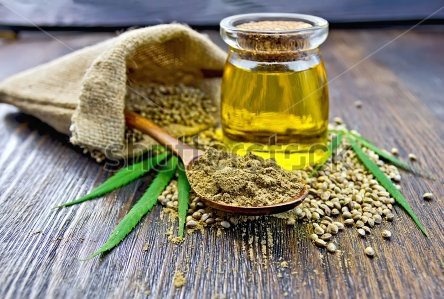 Flour and hemp oil in a jar