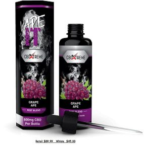 50 ML bottle of Grape Ape CBD Liquid