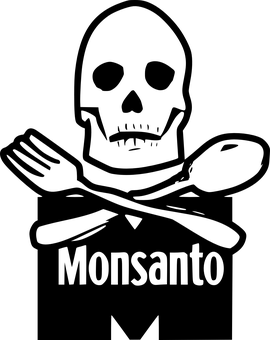 Skull and crossbones over Monsanto banner