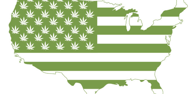 Flag of United States of America with marijuana symbols all over it